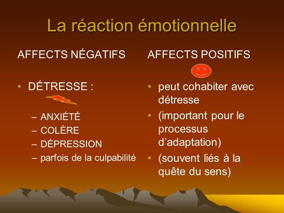 La réaction émotionnelle AFFECTS NÉGATIFS DÉTRESSE : –ANXIÉTÉ –COLÈRE –DÉPRESSION –parfois de la culpabilité AFFECTS POSITIFS peut cohabiter avec détresse (important pour le processus d'adaptation) (souvent liés à la quête du sens)