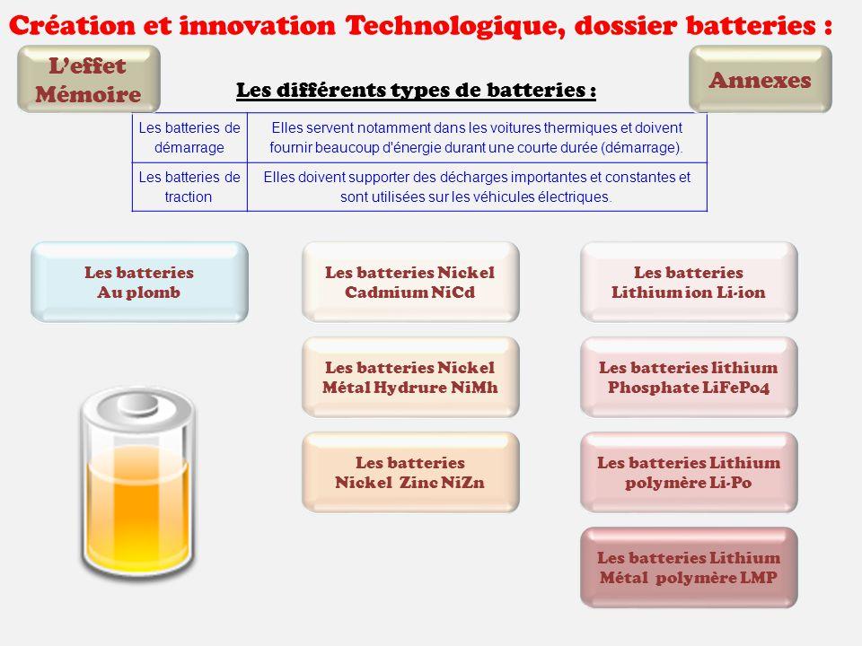 Création et innovation Technologique, dossier batteries : Les différents types de batteries : Les batteries de démarrage Elles servent notamment dans