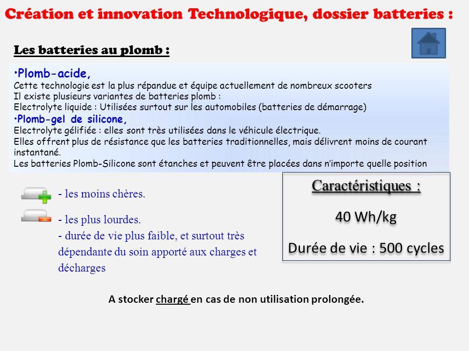 Création et innovation Technologique, dossier batteries : Les batteries au plomb : Plomb-acide, Cette technologie est la plus répandue et équipe actue