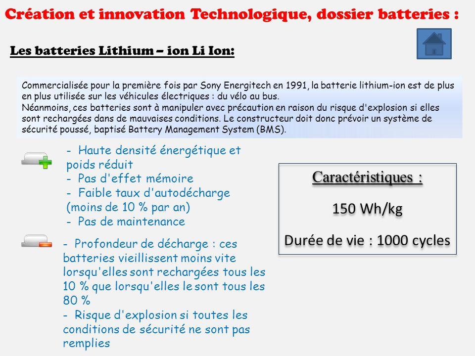 Création et innovation Technologique, dossier batteries : Les batteries Lithium – ion Li Ion: Commercialisée pour la première fois par Sony Energitech