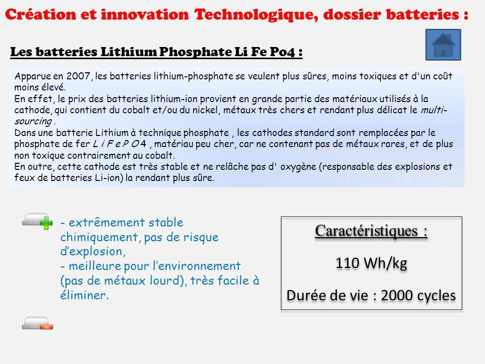 Création et innovation Technologique, dossier batteries : Les batteries Lithium Phosphate Li Fe Po4 : Apparue en 2007, les batteries lithium-phosphate