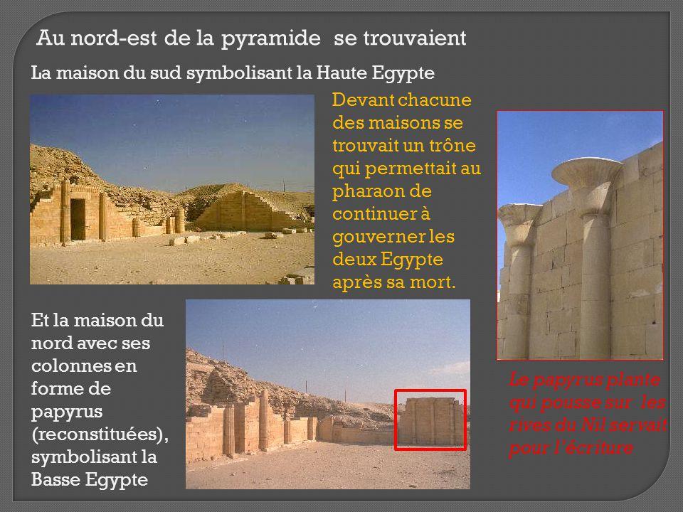 Au nord-est de la pyramide se trouvaient La maison du sud symbolisant la Haute Egypte Et la maison du nord avec ses colonnes en forme de papyrus (reco