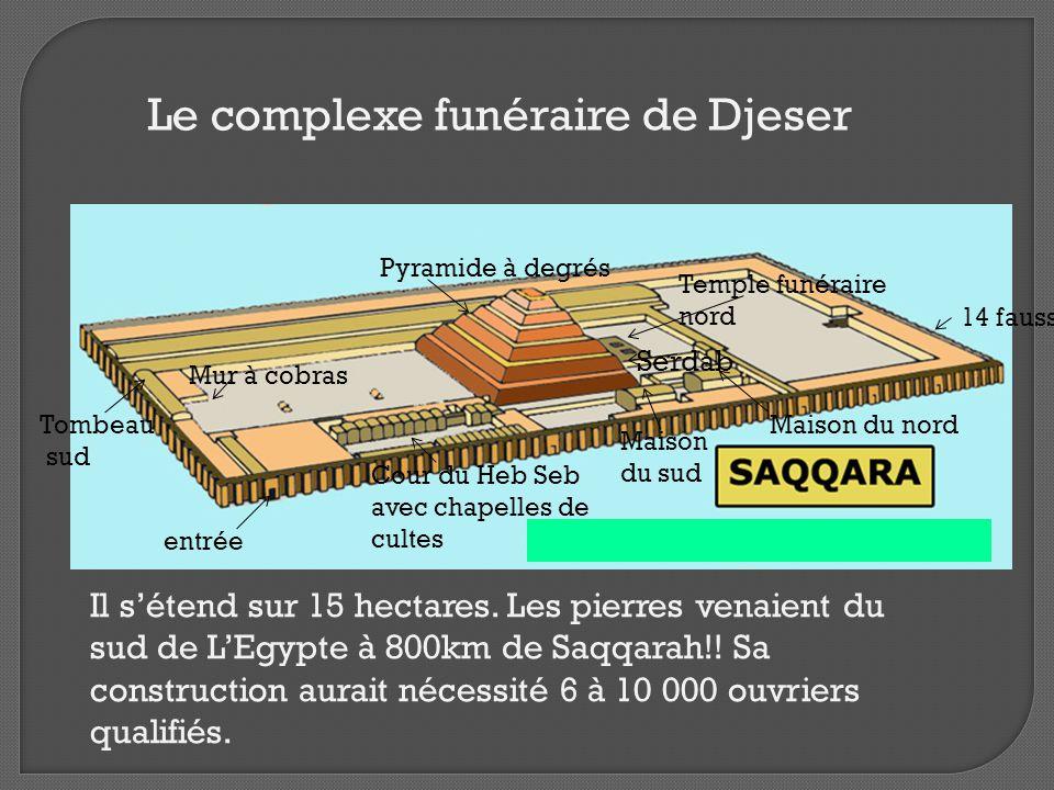 Cour du Heb Seb avec chapelles de cultes Serdab Pyramide à degrés Mur à cobras Tombeau sud entrée 14 fausses portes Temple funéraire nord Le complexe