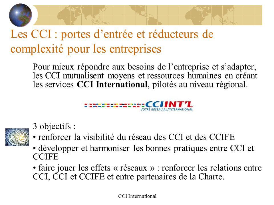 CCI International Les CCI : portes d'entrée et réducteurs de complexité pour les entreprises Pour mieux répondre aux besoins de l'entreprise et s'adap