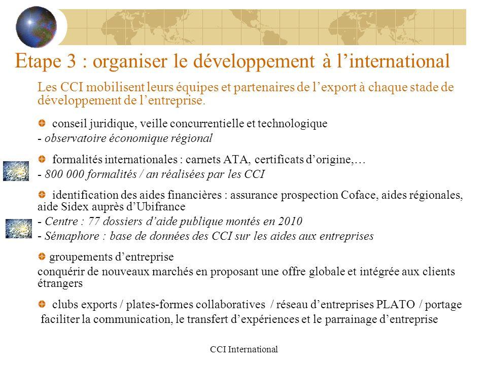 CCI International E tape 3 : organiser le développement à l'international Les CCI mobilisent leurs équipes et partenaires de l'export à chaque stade d
