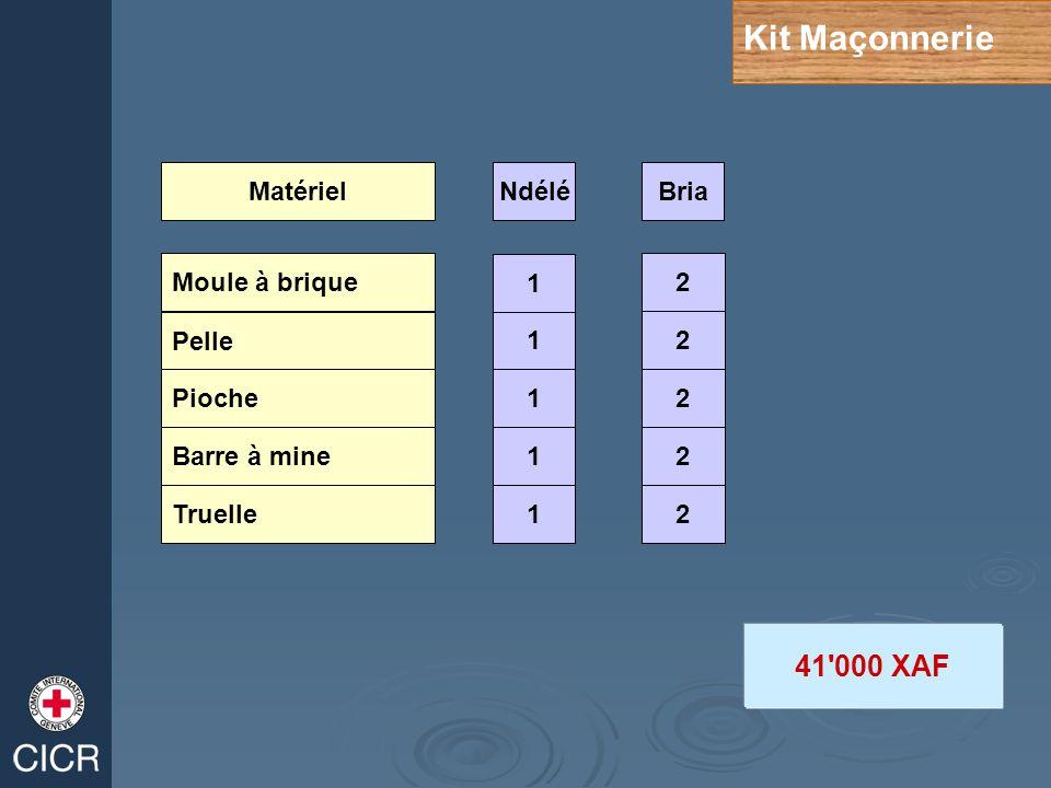 Kit Maçonnerie Moule à brique Pelle Truelle Pioche Barre à mine 1 1 12 2 2 2 2 1 1 MatérielNdéléBria 41 000 XAF