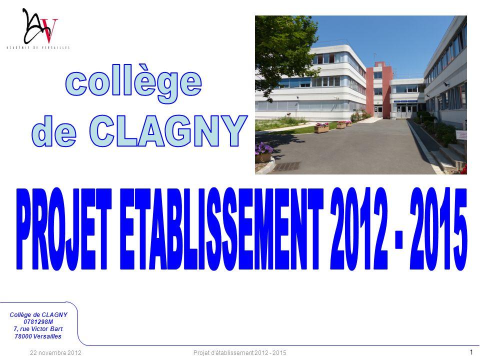 Collège de CLAGNY 0781298M 7, rue Victor Bart 78000 Versailles 1 Projet d'établissement 2012 - 2015 22 novembre 2012