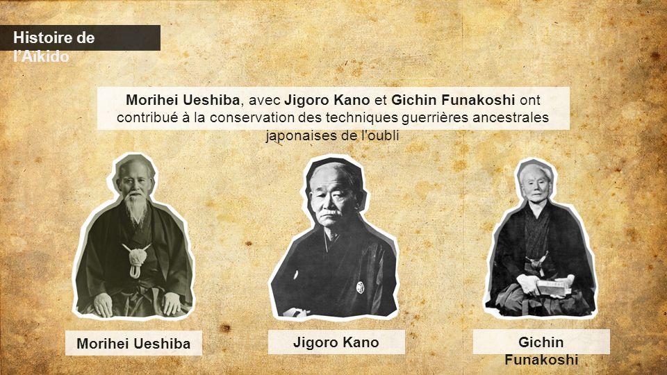 Histoire de l'Aïkido Morihei Ueshiba, avec Jigoro Kano et Gichin Funakoshi ont contribué à la conservation des techniques guerrières ancestrales japon