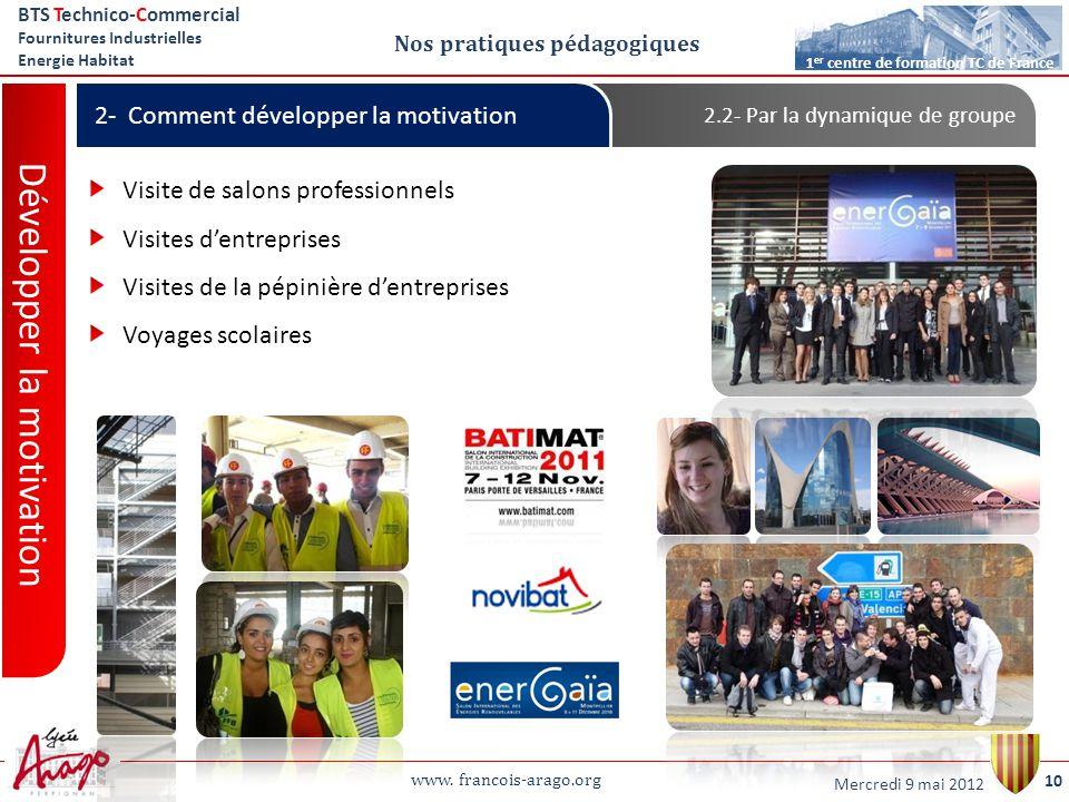 www. francois-arago.org BTS Technico-Commercial Fournitures Industrielles Energie Habitat 10 1 er centre de formation TC de France Nos pratiques pédag