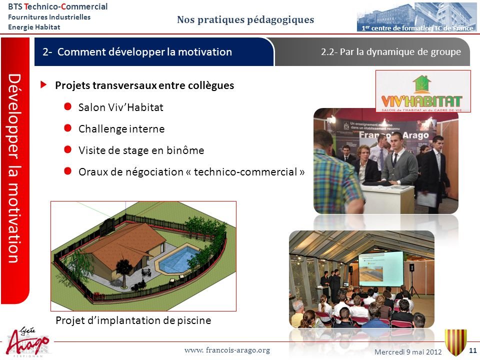 www. francois-arago.org BTS Technico-Commercial Fournitures Industrielles Energie Habitat 11 1 er centre de formation TC de France Nos pratiques pédag