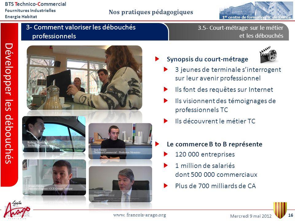 www. francois-arago.org BTS Technico-Commercial Fournitures Industrielles Energie Habitat 16 1 er centre de formation TC de France Nos pratiques pédag