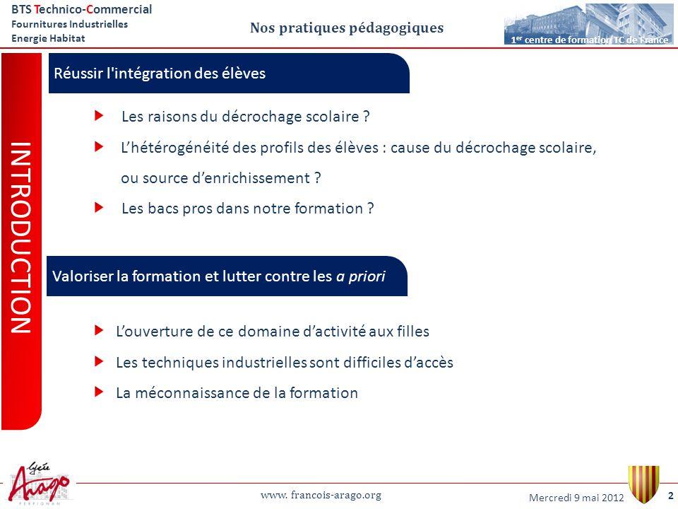 www. francois-arago.org BTS Technico-Commercial Fournitures Industrielles Energie Habitat 2 1 er centre de formation TC de France Nos pratiques pédago