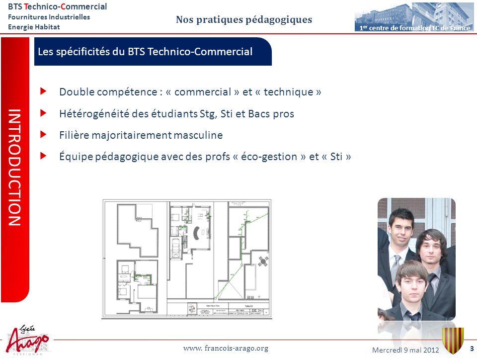 www. francois-arago.org BTS Technico-Commercial Fournitures Industrielles Energie Habitat 3 1 er centre de formation TC de France Nos pratiques pédago