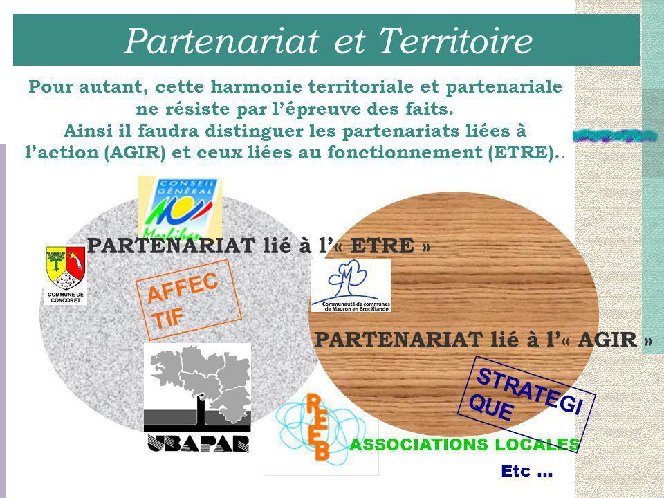 Partenariat et Territoire Pour autant, cette harmonie territoriale et partenariale ne résiste par l'épreuve des faits. Ainsi il faudra distinguer les