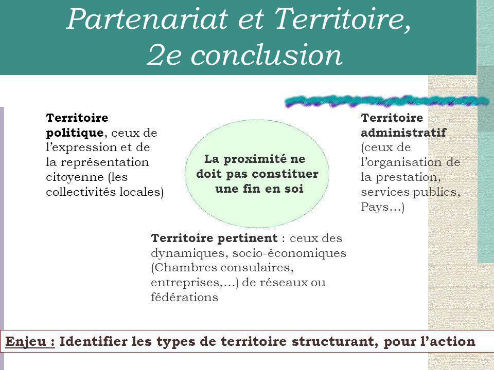 Enjeu : Identifier les types de territoire structurant, pour l'action La proximité ne doit pas constituer une fin en soi Territoire politique, ceux de