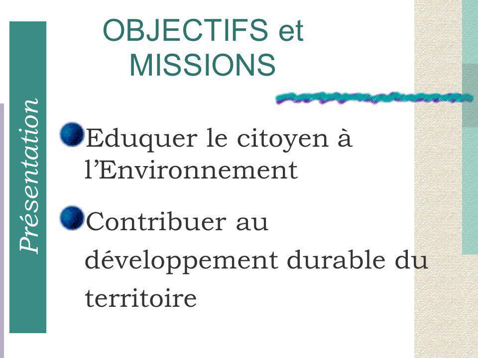 Eduquer le citoyen à l'Environnement Contribuer au développement durable du territoire OBJECTIFS et MISSIONS Présentation
