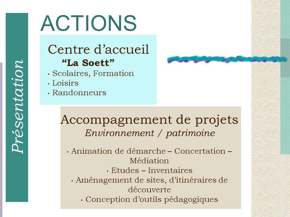Accompagnement de projets Environnement / patrimoine Animation de démarche – Concertation – Médiation Etudes – Inventaires Aménagement de sites, d'iti