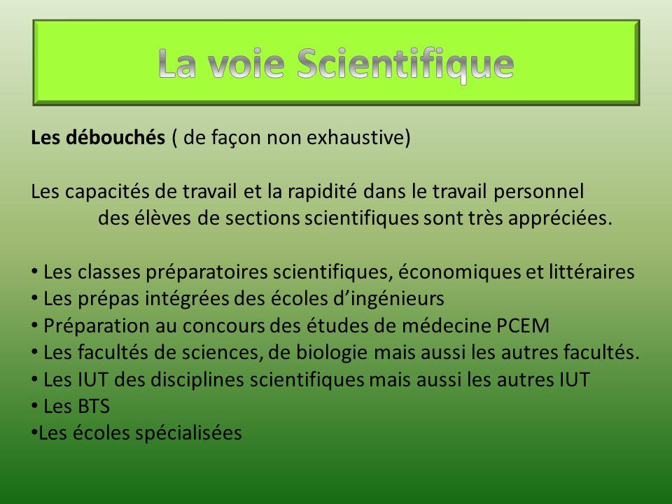 Les débouchés ( de façon non exhaustive) Les capacités de travail et la rapidité dans le travail personnel des élèves de sections scientifiques sont t