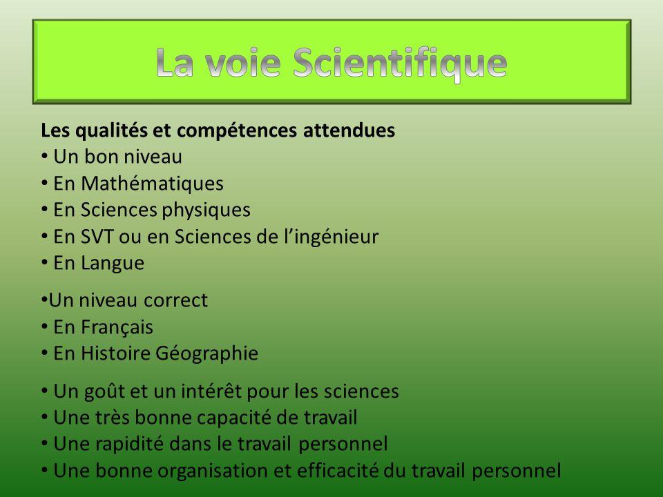 Les qualités et compétences attendues Un bon niveau En Mathématiques En Sciences physiques En SVT ou en Sciences de l'ingénieur En Langue Un niveau co