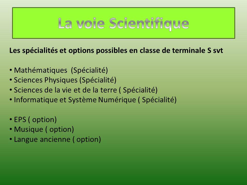 Les spécialités et options possibles en classe de terminale S svt Mathématiques (Spécialité) Sciences Physiques (Spécialité) Sciences de la vie et de