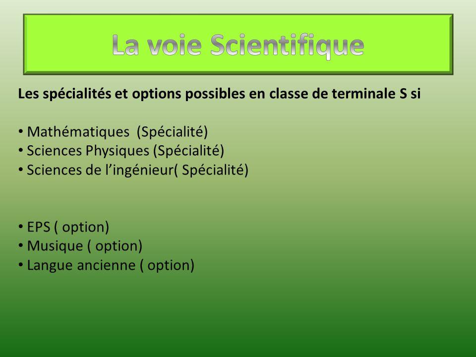 Les spécialités et options possibles en classe de terminale S si Mathématiques (Spécialité) Sciences Physiques (Spécialité) Sciences de l'ingénieur( S