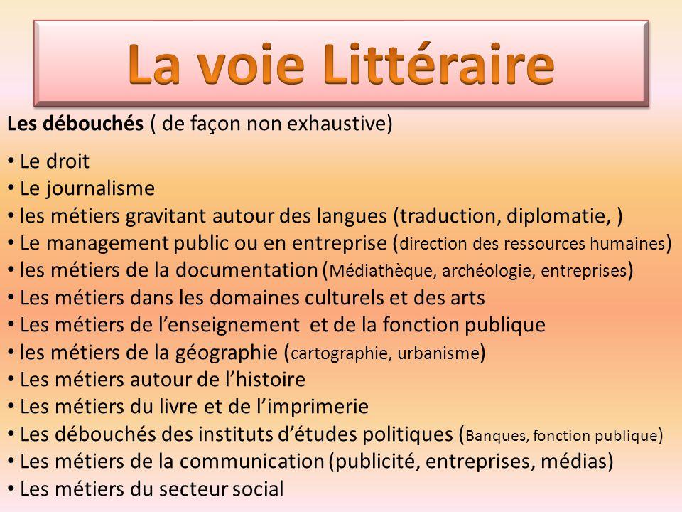 Les débouchés ( de façon non exhaustive) Le droit Le journalisme les métiers gravitant autour des langues (traduction, diplomatie, ) Le management pub
