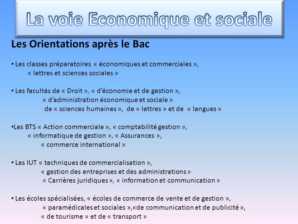 Les Orientations après le Bac Les classes préparatoires « économiques et commerciales », « lettres et sciences sociales » Les facultés de « Droit », «