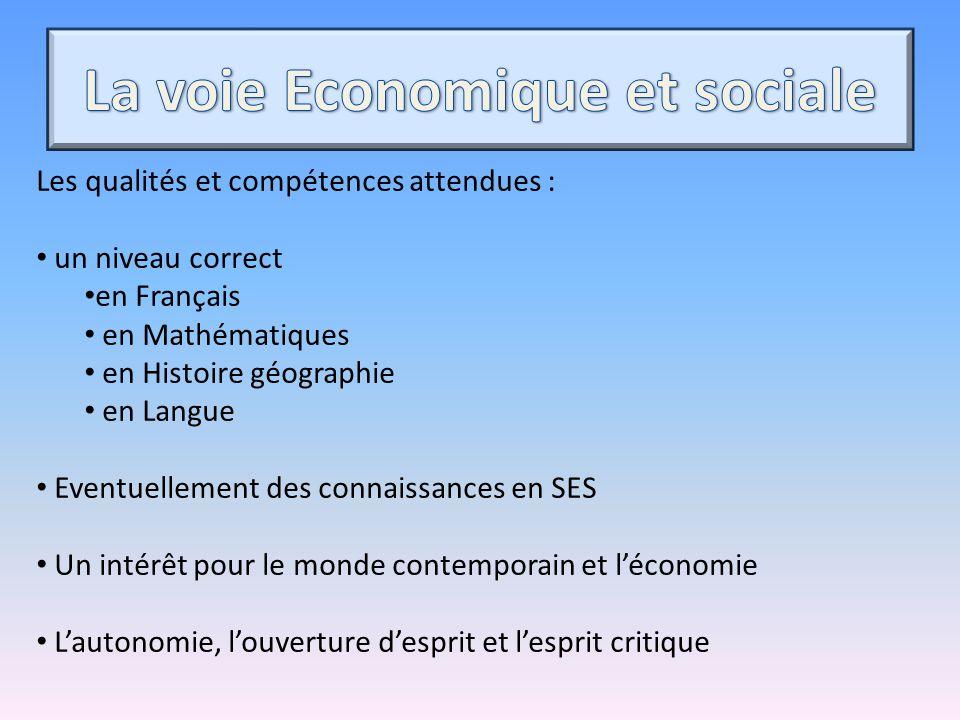 Les qualités et compétences attendues : un niveau correct en Français en Mathématiques en Histoire géographie en Langue Eventuellement des connaissanc