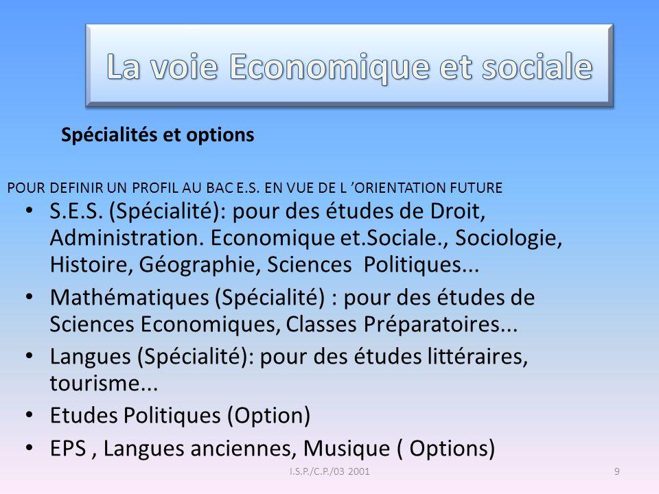 I.S.P./C.P./03 20019 S.E.S. (Spécialité): pour des études de Droit, Administration. Economique et.Sociale., Sociologie, Histoire, Géographie, Sciences