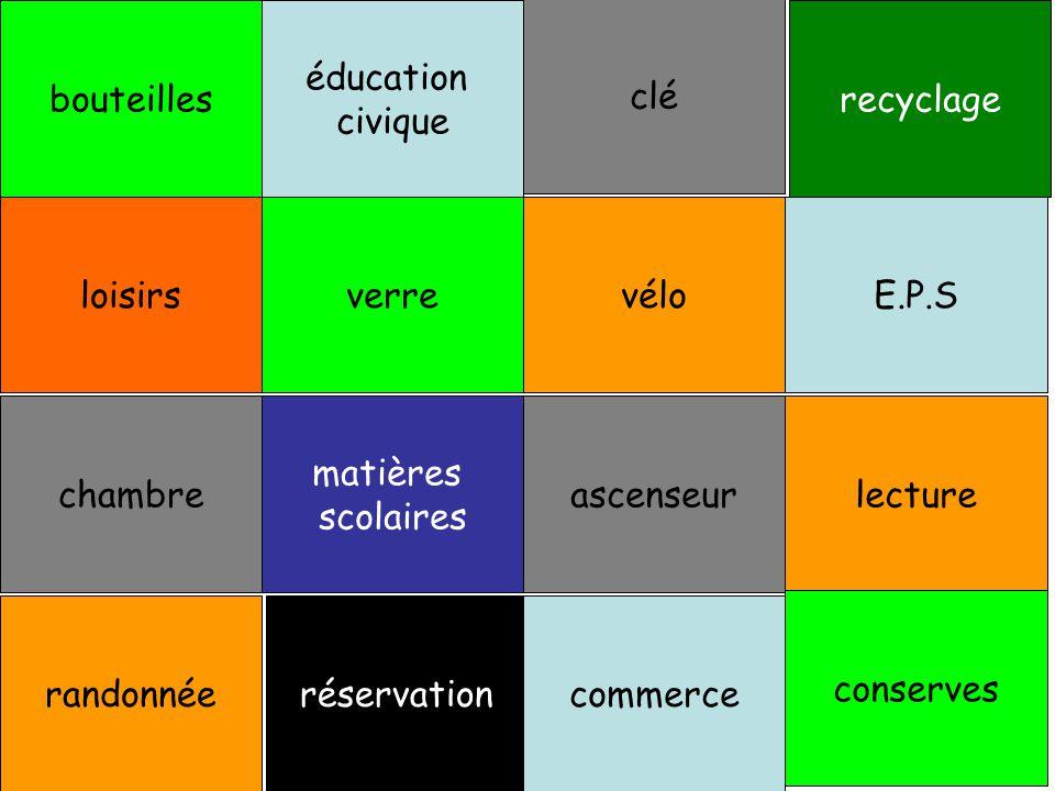 bouteilles éducation civique clé recyclage loisirs verre vélo E.P.S chambre matières scolaires ascenseur lecturerandonnée réservation commerce conserves