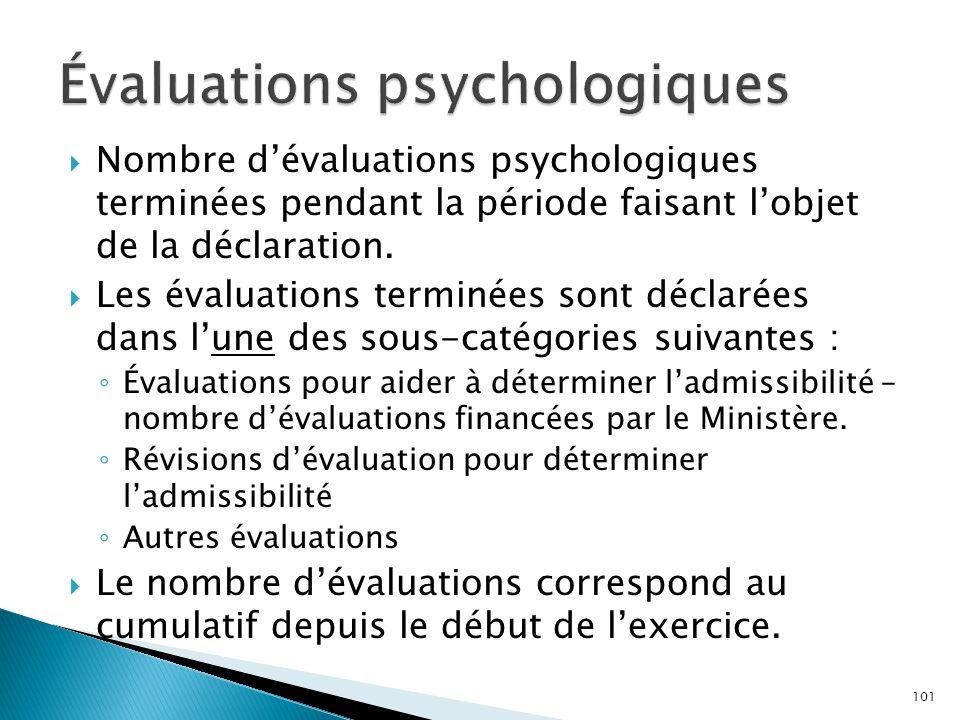  Nombre d'évaluations psychologiques terminées pendant la période faisant l'objet de la déclaration.  Les évaluations terminées sont déclarées dans