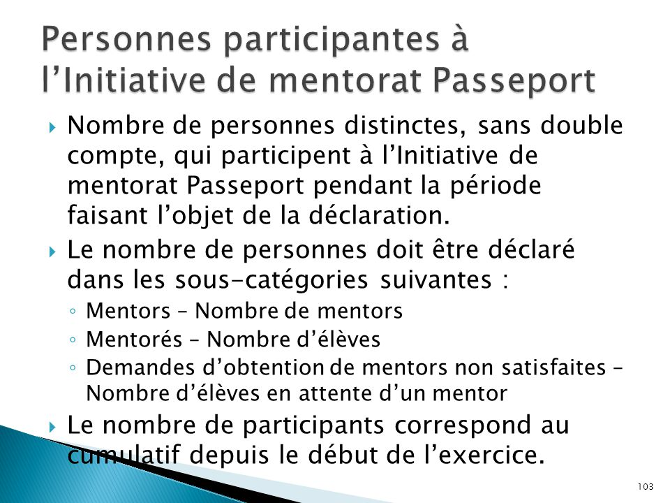  Nombre de personnes distinctes, sans double compte, qui participent à l'Initiative de mentorat Passeport pendant la période faisant l'objet de la dé