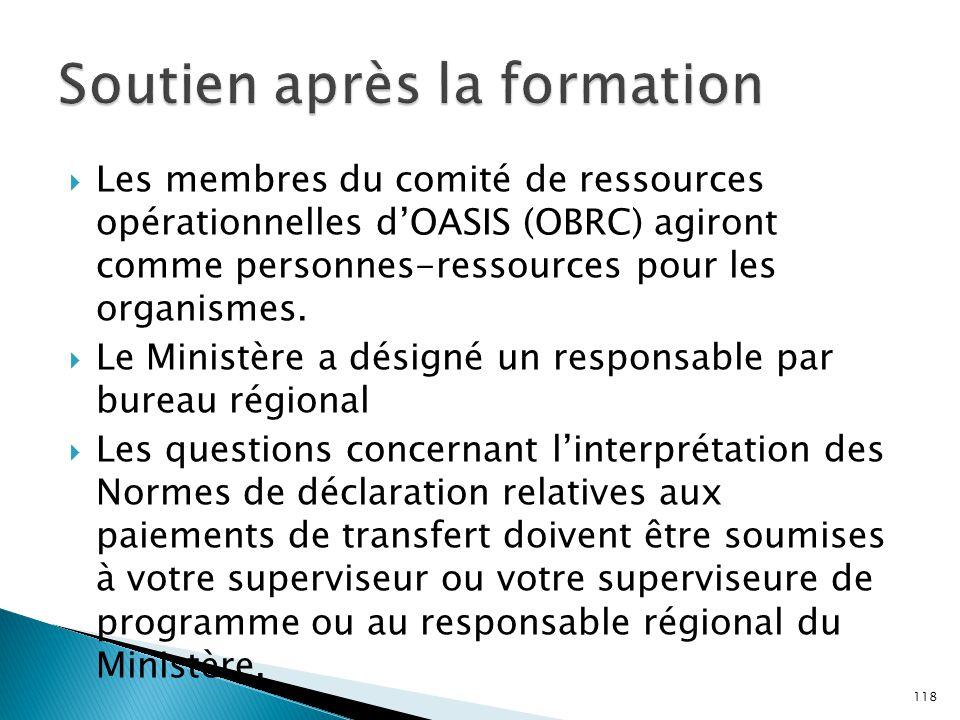  Les membres du comité de ressources opérationnelles d'OASIS (OBRC) agiront comme personnes-ressources pour les organismes.  Le Ministère a désigné
