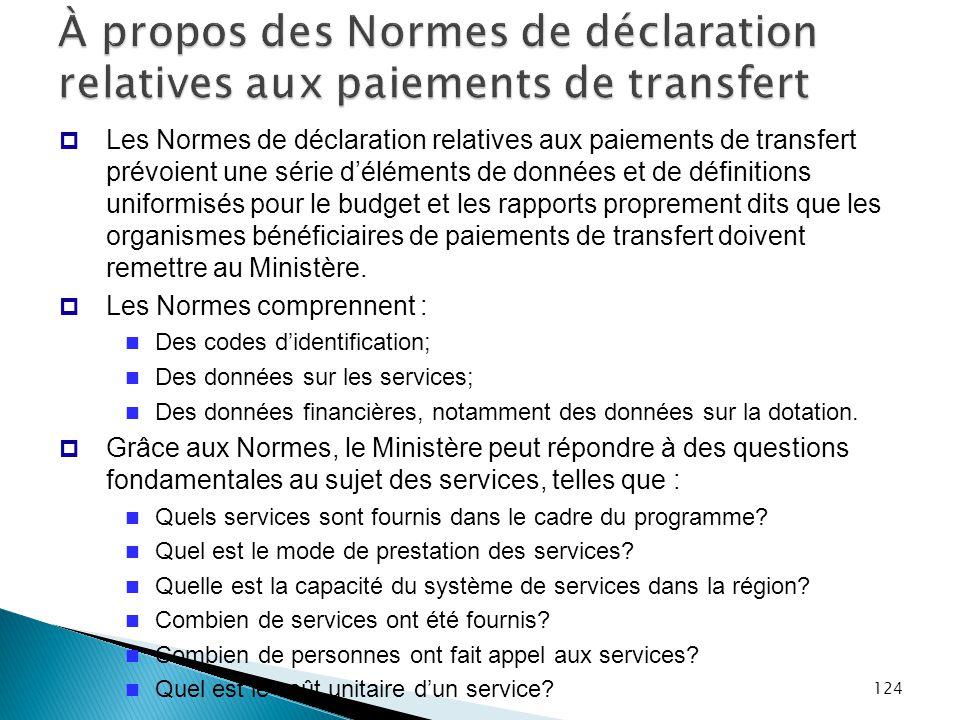 124 À propos des Normes de déclaration relatives aux paiements de transfert  Les Normes de déclaration relatives aux paiements de transfert prévoient