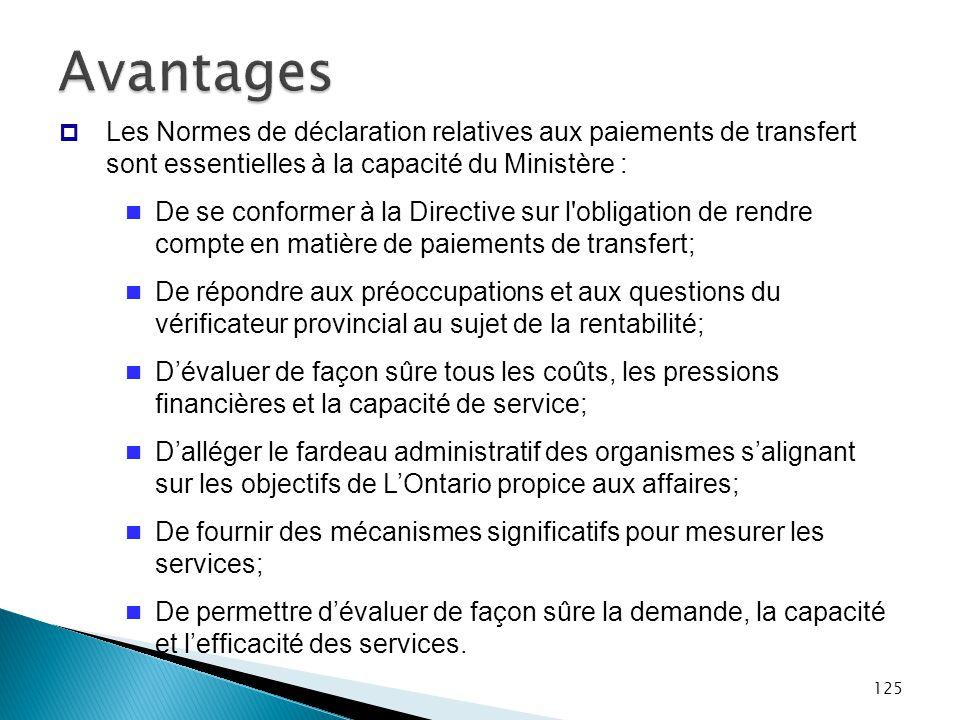 125 Avantages  Les Normes de déclaration relatives aux paiements de transfert sont essentielles à la capacité du Ministère : De se conformer à la Dir