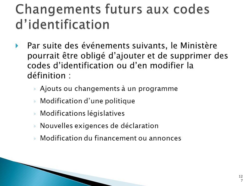 127  Par suite des événements suivants, le Ministère pourrait être obligé d'ajouter et de supprimer des codes d'identification ou d'en modifier la dé