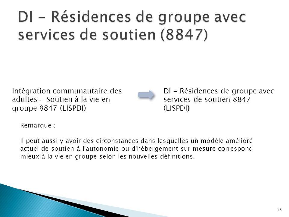 Intégration communautaire des adultes - Soutien à la vie en groupe 8847 (LISPDI) DI - Résidences de groupe avec services de soutien 8847 (LISPDI) Rema