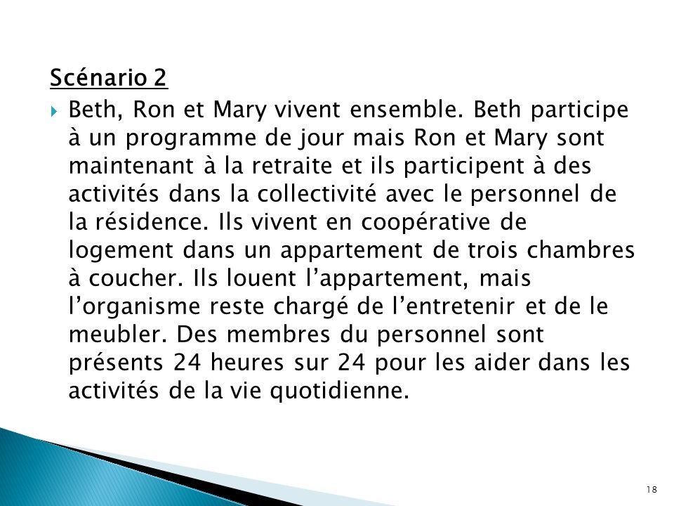 Scénario 2  Beth, Ron et Mary vivent ensemble. Beth participe à un programme de jour mais Ron et Mary sont maintenant à la retraite et ils participen