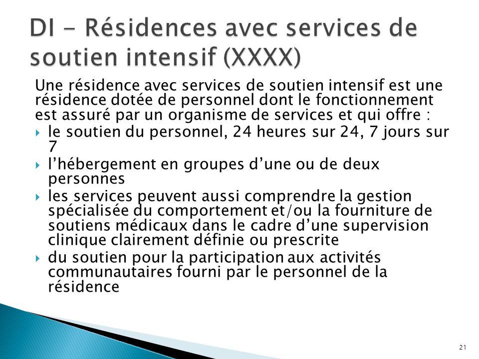 Une résidence avec services de soutien intensif est une résidence dotée de personnel dont le fonctionnement est assuré par un organisme de services et