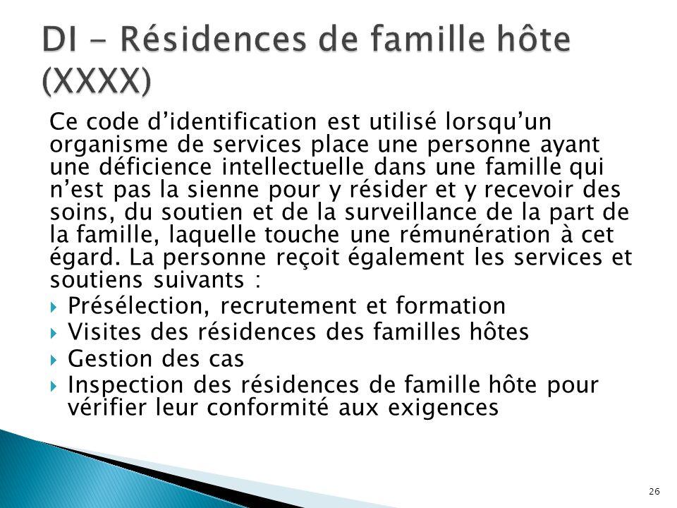 Ce code d'identification est utilisé lorsqu'un organisme de services place une personne ayant une déficience intellectuelle dans une famille qui n'est