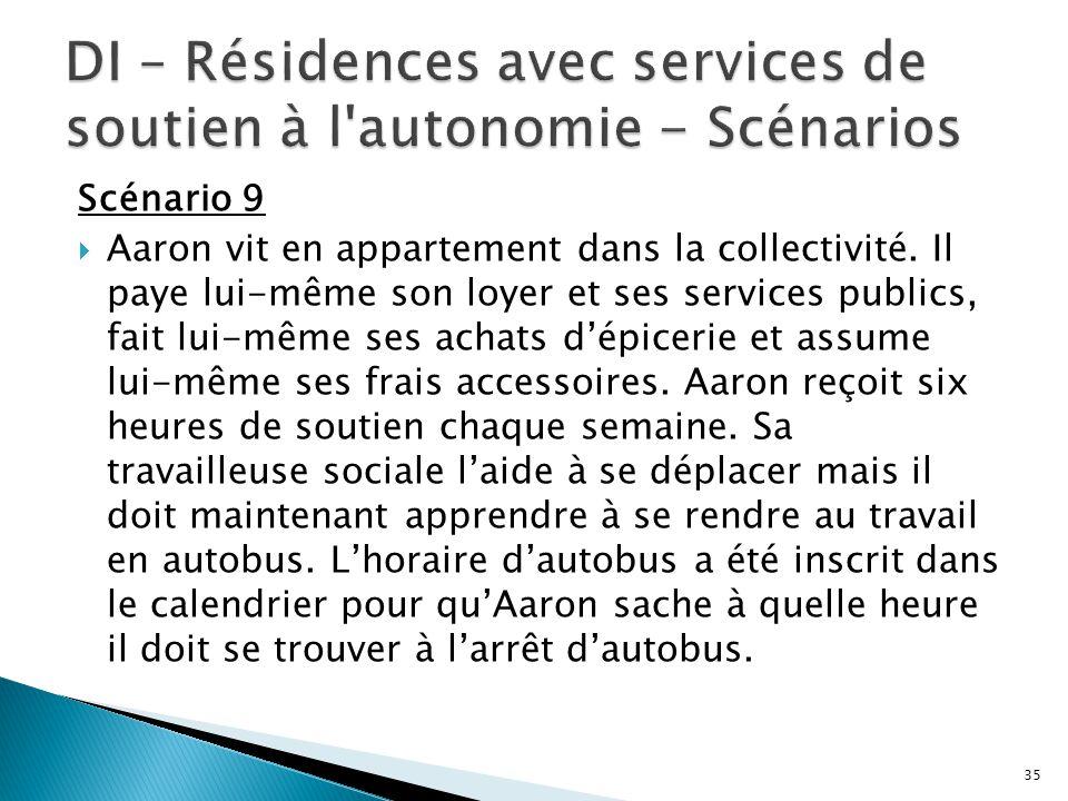 Scénario 9  Aaron vit en appartement dans la collectivité. Il paye lui-même son loyer et ses services publics, fait lui-même ses achats d'épicerie et