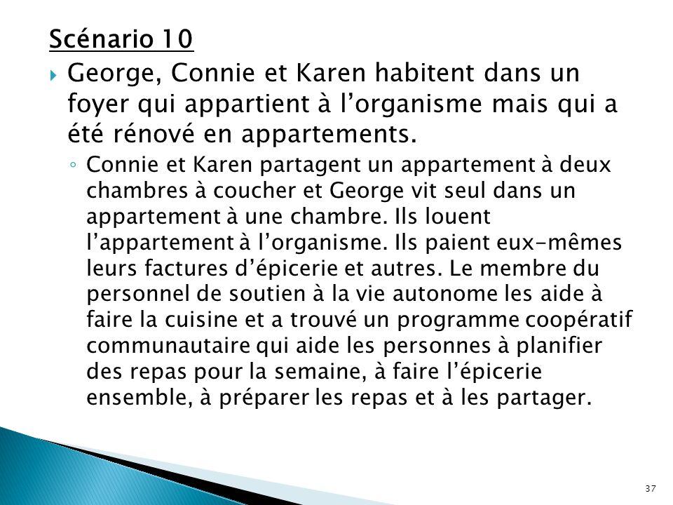 Scénario 10  George, Connie et Karen habitent dans un foyer qui appartient à l'organisme mais qui a été rénové en appartements. ◦ Connie et Karen par