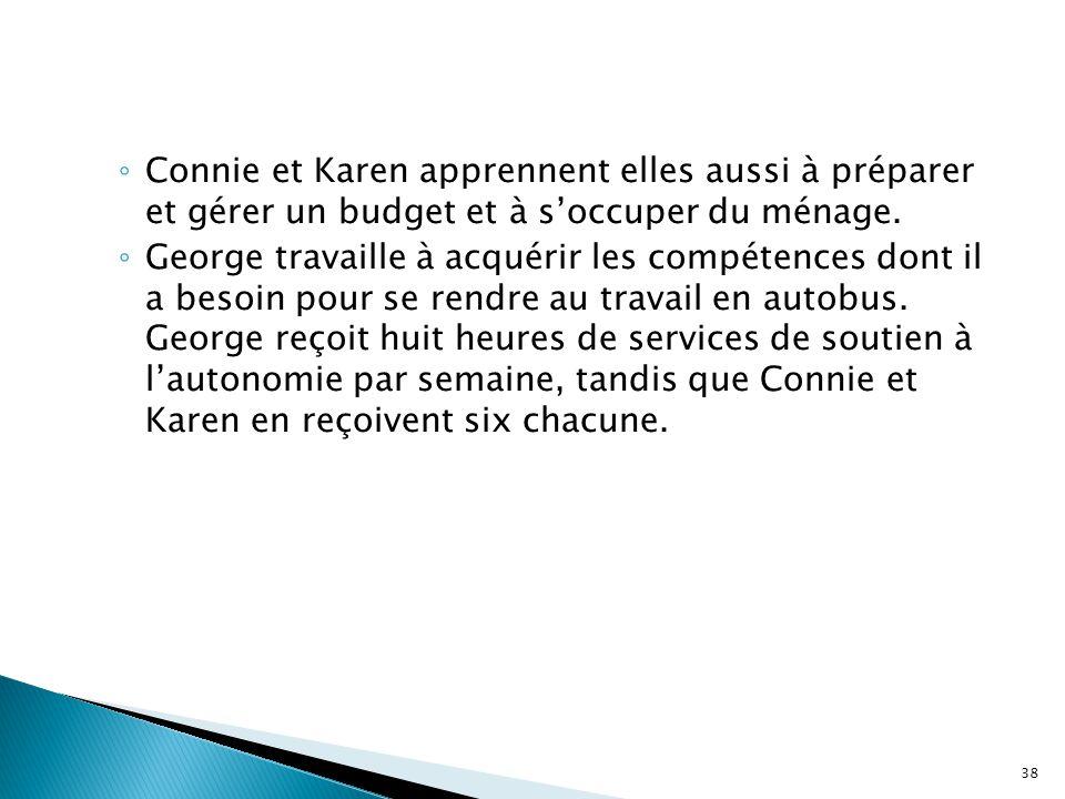 ◦ Connie et Karen apprennent elles aussi à préparer et gérer un budget et à s'occuper du ménage. ◦ George travaille à acquérir les compétences dont il