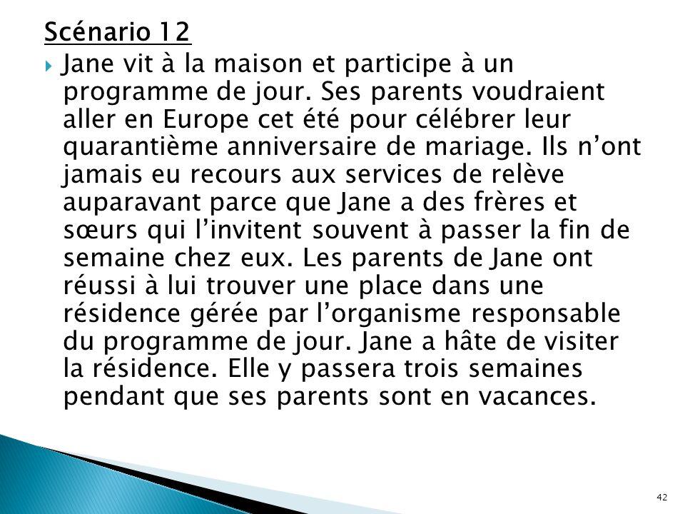 Scénario 12  Jane vit à la maison et participe à un programme de jour. Ses parents voudraient aller en Europe cet été pour célébrer leur quarantième