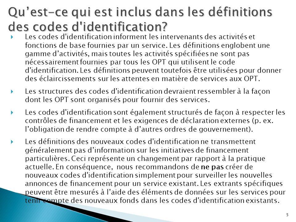 5  Les codes d'identification informent les intervenants des activités et fonctions de base fournies par un service. Les définitions englobent une ga