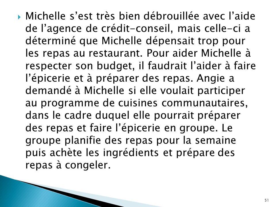  Michelle s'est très bien débrouillée avec l'aide de l'agence de crédit-conseil, mais celle-ci a déterminé que Michelle dépensait trop pour les repas