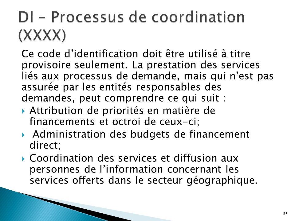Ce code d'identification doit être utilisé à titre provisoire seulement. La prestation des services liés aux processus de demande, mais qui n'est pas