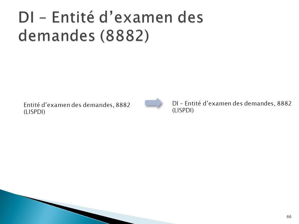 Entité d'examen des demandes, 8882 (LISPDI) DI – Entité d'examen des demandes, 8882 (LISPDI) 66