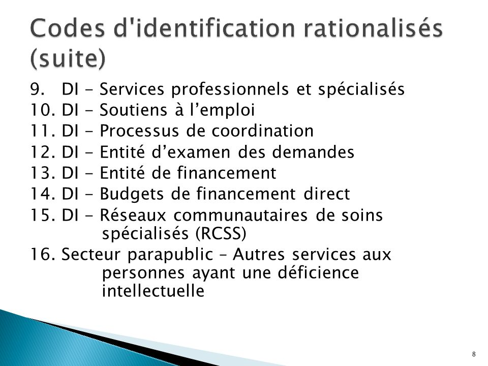 9. DI - Services professionnels et spécialisés 10. DI - Soutiens à l'emploi 11. DI - Processus de coordination 12. DI - Entité d'examen des demandes 1