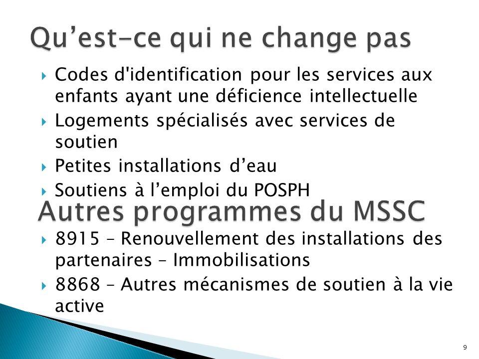  Les nouveau codes d identification DI sont conformes à la loi et aux structures de dotation des OPT aux fins de la prestation des services.